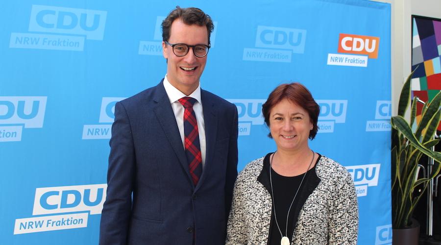 NRW-Verkehrsminister Hendrik Wüst und Bianca Winkelmann.